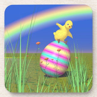 Cute Baby Chick on Easter Egg Beverage Coaster