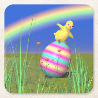 Cute Baby Chick on Easter Egg Square Paper Coaster