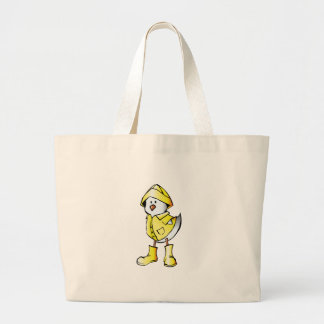 Cute Baby Chick Wearing a Yellow Raincoat Tote Bags