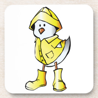 Cute Baby Chick Wearing a Yellow Raincoat Drink Coasters