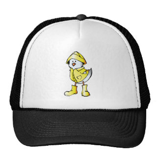 Cute Baby Chick Wearing a Yellow Raincoat Mesh Hat