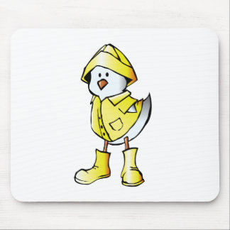 Cute Baby Chick Wearing a Yellow Raincoat Mouse Pads