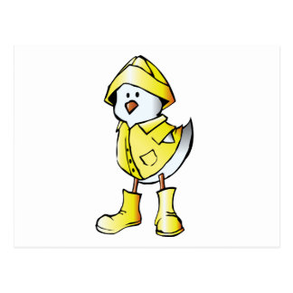 Cute Baby Chick Wearing a Yellow Raincoat Postcard