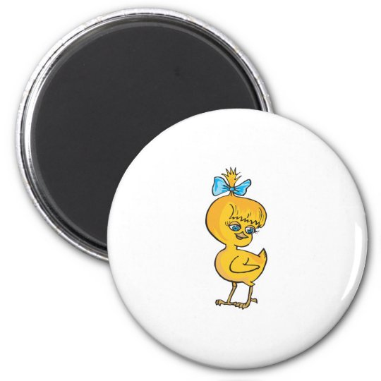 cute baby chick with bow 6 cm round magnet