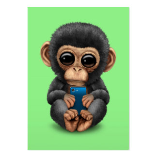 Cute Baby Chimpanzee Holding a Cell Phone Green Pack Of Chubby Business Cards
