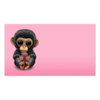 Cute Baby Chimpanzee Holding a Cell Phone Pink Pack Of Standard Business Cards