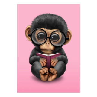 Cute Baby Chimpanzee Reading a Book on Pink Pack Of Chubby Business Cards