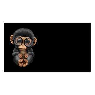 Cute Baby Chimpanzee Wearing Glasses on Black Pack Of Standard Business Cards