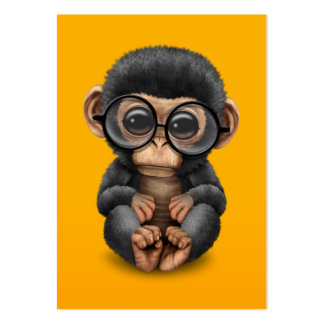 Cute Baby Chimpanzee Wearing Glasses on Yellow Pack Of Chubby Business Cards