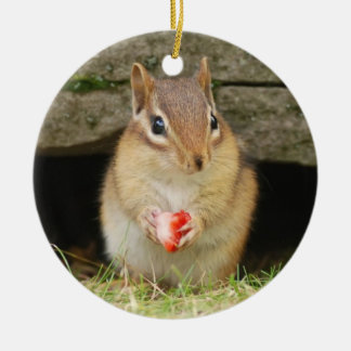 Cute Baby Chipmunk with Strawberry Round Ceramic Decoration