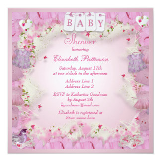 Cute Baby Clothes & Flowers Baby Girl Shower 13 Cm X 13 Cm Square Invitation Card