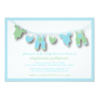 Cute Baby Clothes on the Line for Boy Baby Shower 13 Cm X 18 Cm Invitation Card