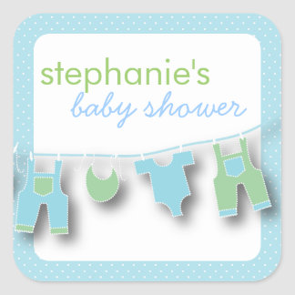 Cute Baby Clothes on the Line for Boy Baby Shower Square Sticker