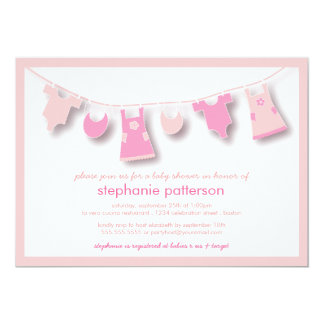 Cute Baby Clothes on the Line for Girl Baby Shower 13 Cm X 18 Cm Invitation Card
