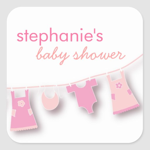 Cute Baby Clothes on the Line for Girl Baby Shower Stickers