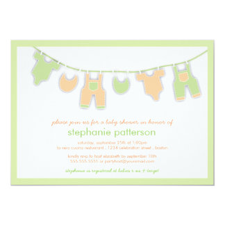 Cute Baby Clothes on the Line Neutral Baby Shower 13 Cm X 18 Cm Invitation Card