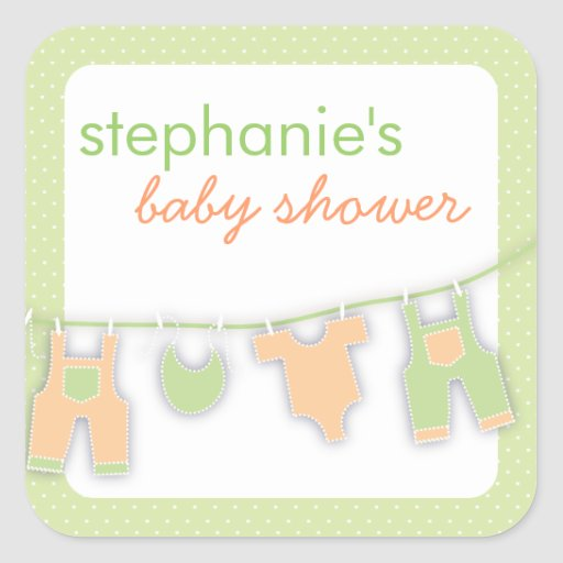 Cute Baby Clothes on the Line Neutral Baby Shower Stickers