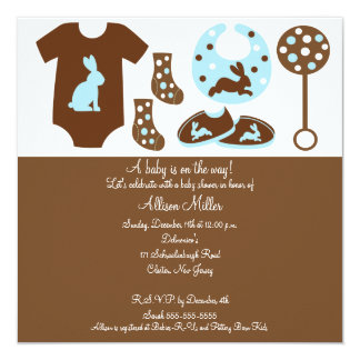 Cute Baby Clothing Boy Baby Shower Invitation