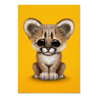 Cute Baby Cougar Cub on Yellow 3.5x5 Paper Invitation Card
