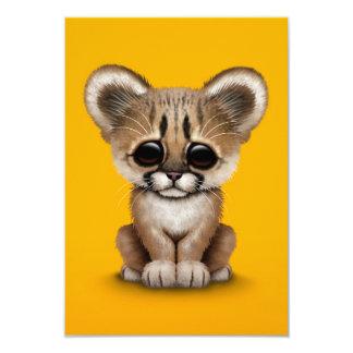 Cute Baby Cougar Cub on Yellow 9 Cm X 13 Cm Invitation Card