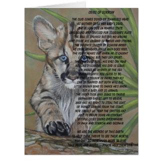 cute baby cougar kitten wildlife art poem big card