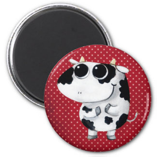 Cute Baby Cow 6 Cm Round Magnet