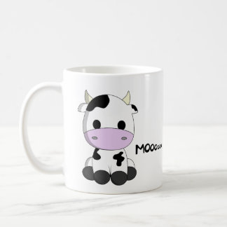 Cute baby cow cartoon basic white mug