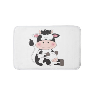 Cute Baby Cow Cartoon Bath Mats