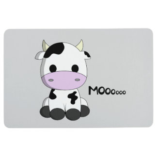 Cute baby cow cartoon kids floor mat