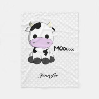 Cute baby cow cartoon kids name fleece blanket