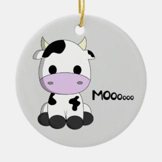 Cute baby cow cartoon kids round ceramic decoration