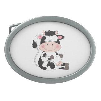 Cute Baby Cow Cartoon Oval Belt Buckles