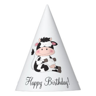 Cute Baby Cow Cartoon Party Hat
