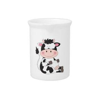 Cute Baby Cow Cartoon Pitcher
