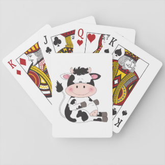 Cute Baby Cow Cartoon Playing Cards