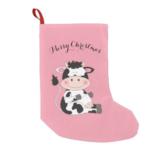 Cute Baby Cow Cartoon Small Christmas Stocking