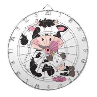 Cute Baby Cow Cartoon With His Favorite Treat Dart Board