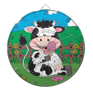 Cute Baby Cow Cartoon With His Favorite Treat Dartboard With Darts