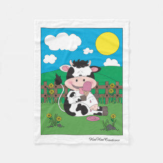 Cute Baby Cow Cartoon With His Favorite Treat Fleece Blanket