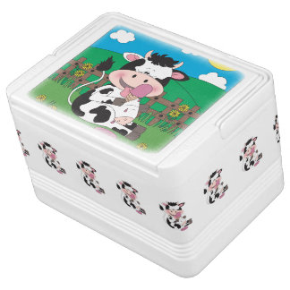 Cute Baby Cow Cartoon With His Favorite Treat Igloo Cooler