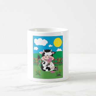 Cute Baby Cow Cartoon With His Favorite Treat Magic Mug