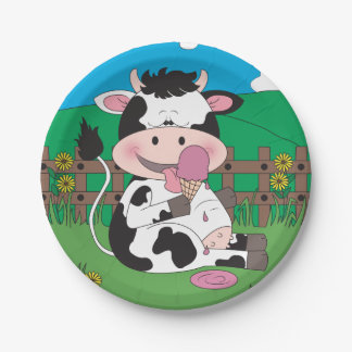 Cute Baby Cow Cartoon With His Favorite Treat Paper Plate