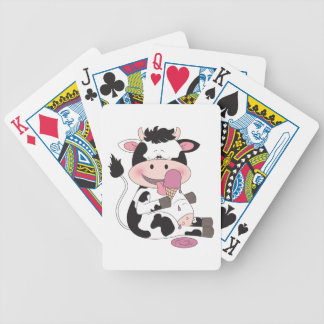 Cute Baby Cow Cartoon With His Favorite Treat Poker Deck