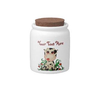 Cute Baby Cow Customizable Candy Jar