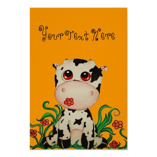 Cute Baby Cow Customizable Poster for Children