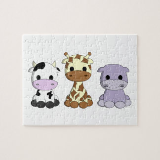 Cute baby cow giraffe hippo cartoon kids puzzle