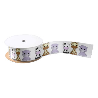 Cute baby cow giraffe hippo cartoon kids satin ribbon