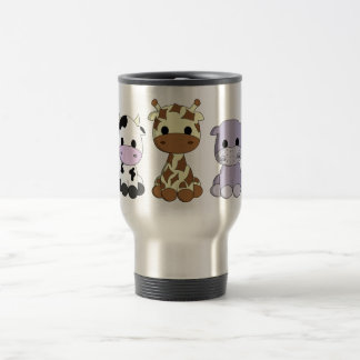 Cute baby cow giraffe hippo cartoon kids travel mug