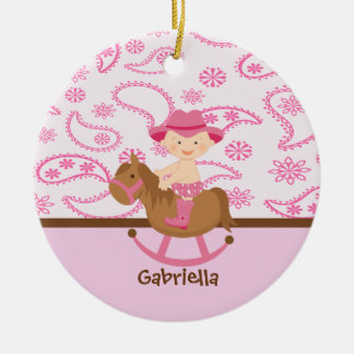 Cute Baby Cowgirl in Pinkon a horse  Ornament