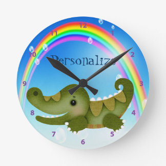 Cute Baby Crocodile & Rainbow Clock